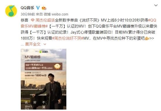 周杰伦《说好不哭》刷爆QQ音乐单曲纪录:销售额突破1500万元 涨姿势 第2张