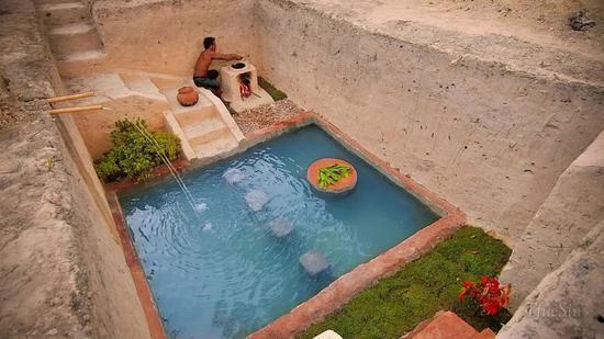 开局一把铲,国外小哥60天打造地下豪华泳池宫殿 涨姿势 第3张