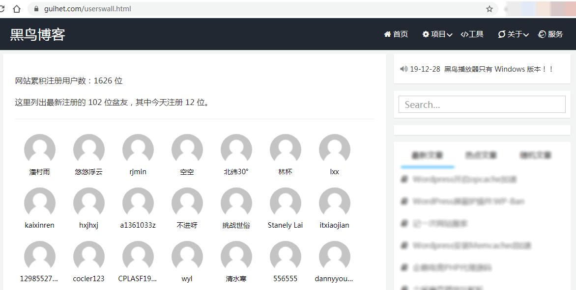 《网站最新注册用户墙》