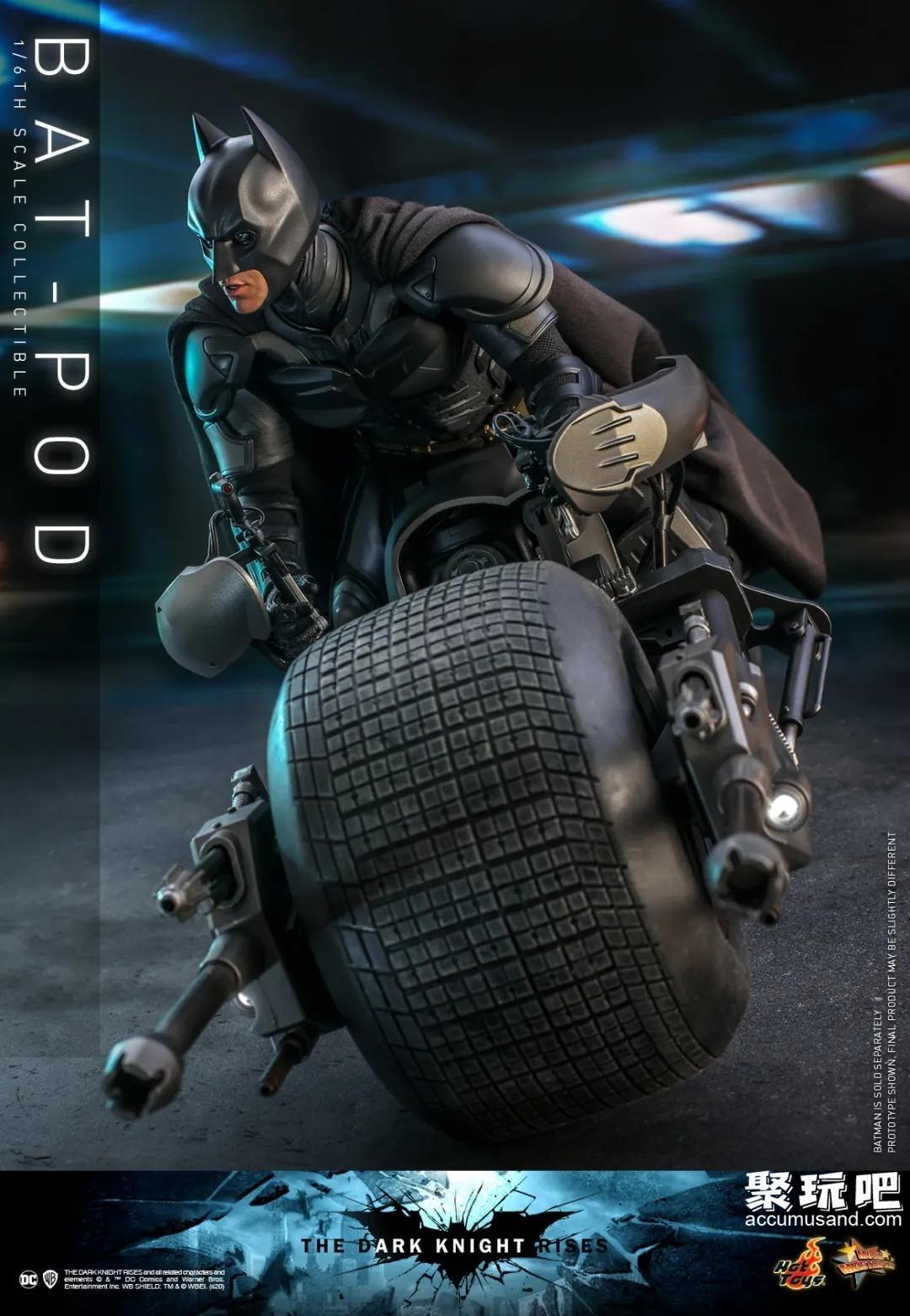 HotToys《蝙蝠侠:黑暗骑士崛起》蝙蝠侠1/6可动手办,配件相当丰富,还有酷炫的蝙蝠车