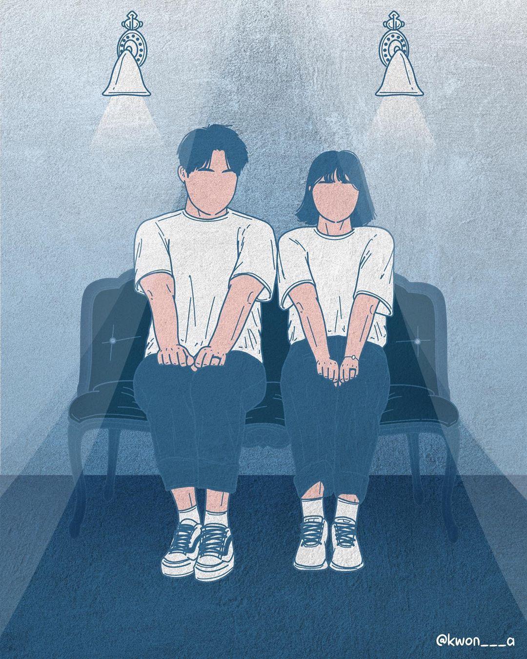 韩国插画师kwon___a笔下的情侣亲密照 涨姿势 第13张