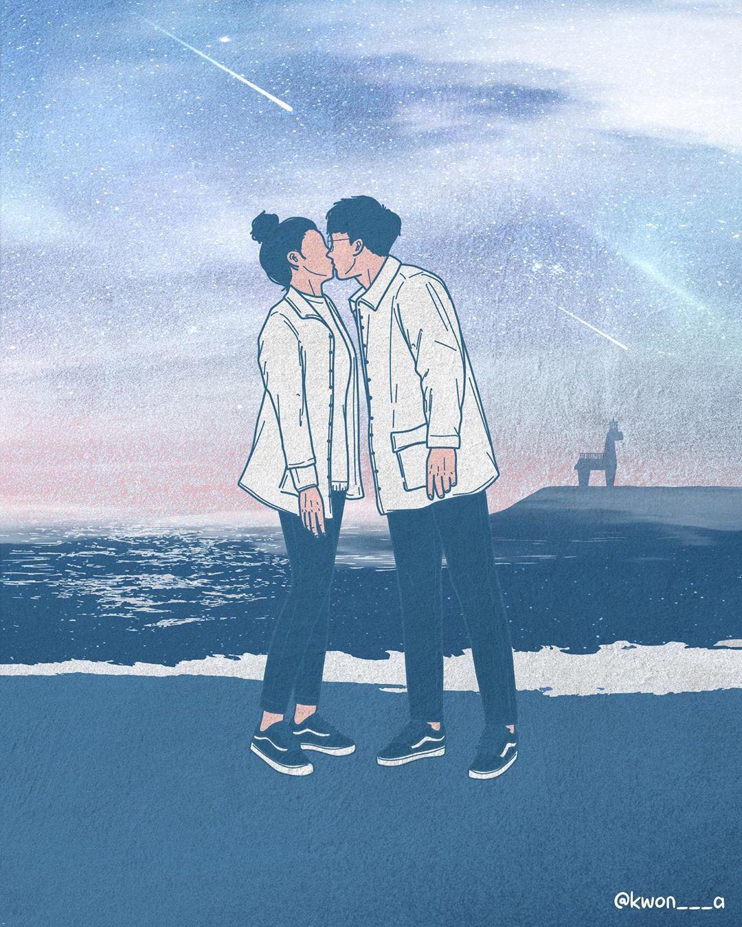 韩国插画师kwon___a笔下的情侣亲密照 涨姿势 第12张