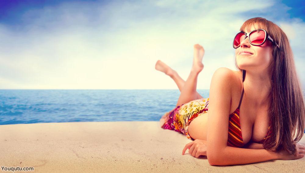 沙滩性感比基尼美女大胆人体模特图片