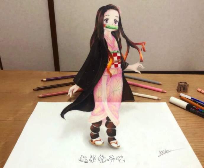 网友绘制鬼灭之刃铅笔3D:立体投影般的祢豆子真实感爆棚-爱趣猫
