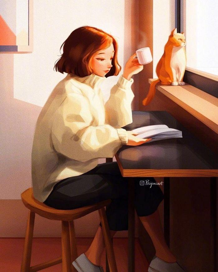 温柔清澈的晚安心语文案短句,优美插画图片,可收藏