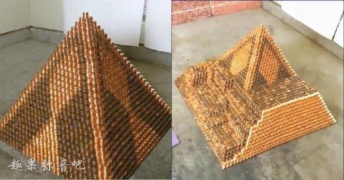 超狂男子花了三年用「938322枚」硬币:成为史上最大的金字塔!-爱趣猫