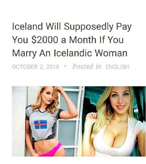 日刊:凡是去冰岛娶媳妇的男人,每个月发5000刀补贴