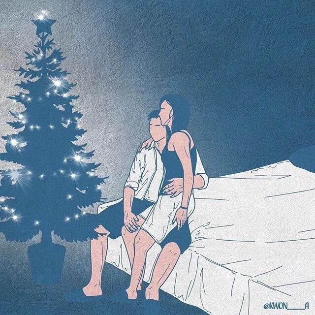 韩国插画师kwon___a笔下的情侣亲密照 涨姿势 第8张