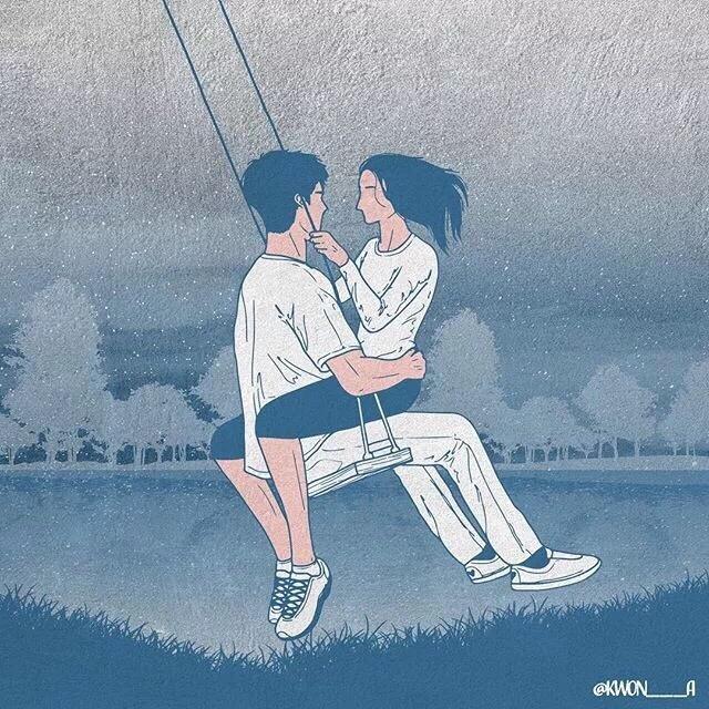 韩国插画师kwon___a笔下的情侣亲密照 涨姿势 第2张