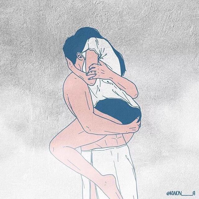 韩国插画师kwon___a笔下的情侣亲密照 涨姿势 第7张