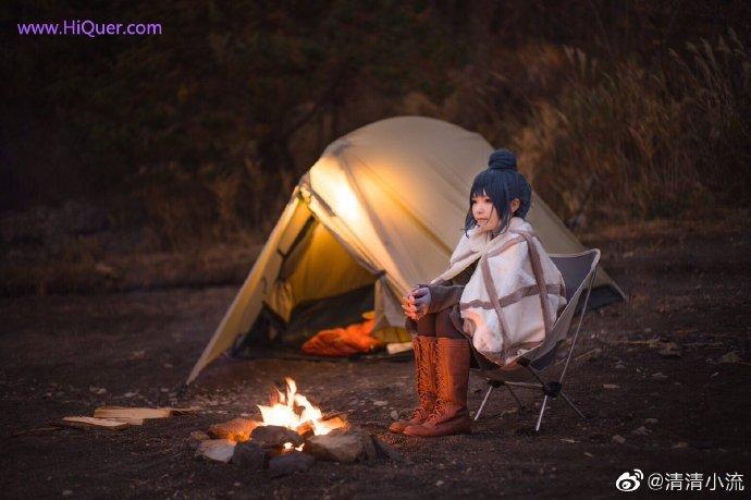 现实也有这么可爱的妹子露营吗,日本女coser《摇曳露营》高还原度野外cosplay 涨姿势 第9张