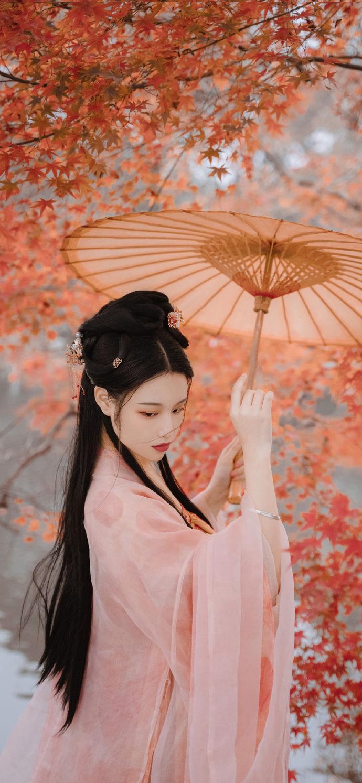 超美古装美女撑伞意境手机壁纸图片