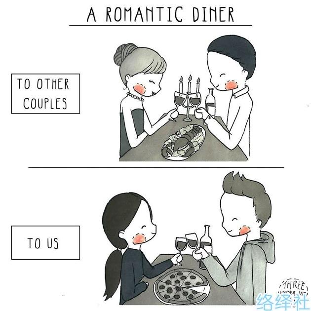 Brisa插画作品《小情侣的日常漫画》,只有爱过才会懂!