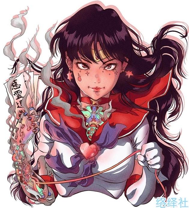 绘师神创作美少女战士机械化,月野兔超杀眼神美出新高度!