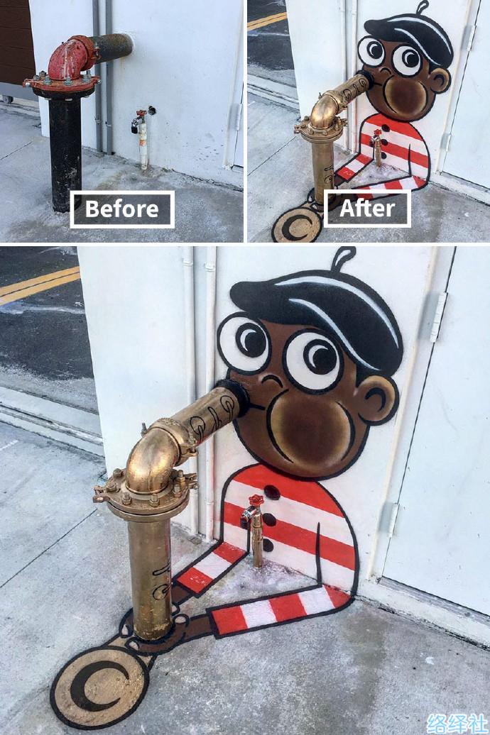 纽约街头艺术家Tom Bob用涂鸦把城市变得新奇!
