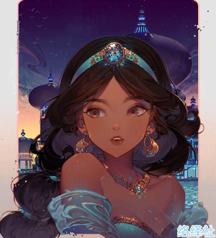 用日系画风打开迪斯尼公主,P站画师「河CY」同人作品