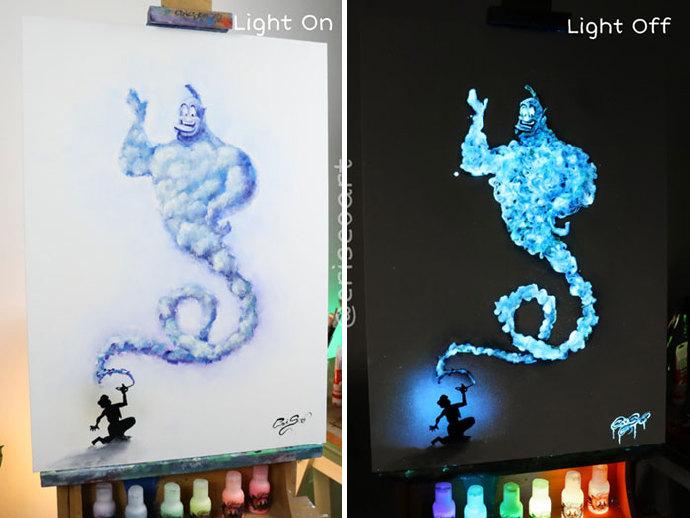关灯之后更漂亮!意大利艺术家Crisco Art的「夜光画作」