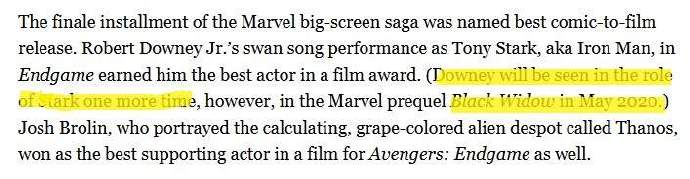 还能在电影院见到钢铁侠?据说唐尼会在「黑寡妇」中现身