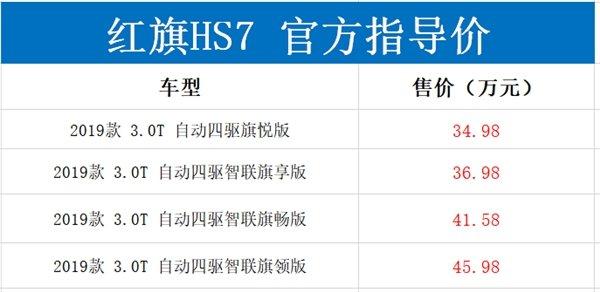标配V6机械增压+8AT+四驱!红旗HS7正式上市:34.98万起