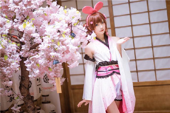 卡哇伊cosplay,小可爱的兔耳朵与樱花插图14