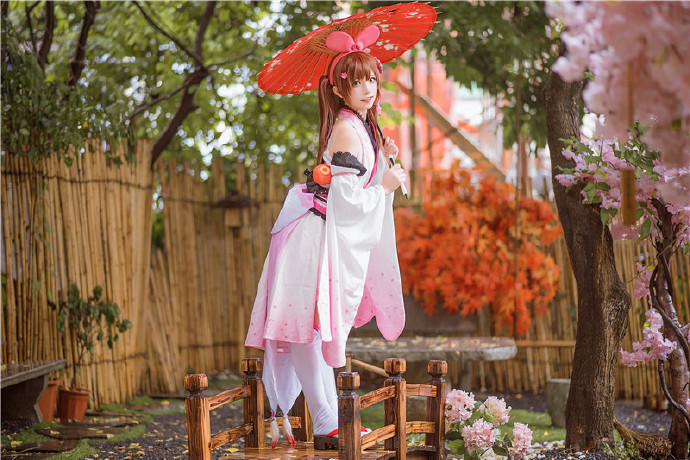 卡哇伊cosplay,小可爱的兔耳朵与樱花插图15