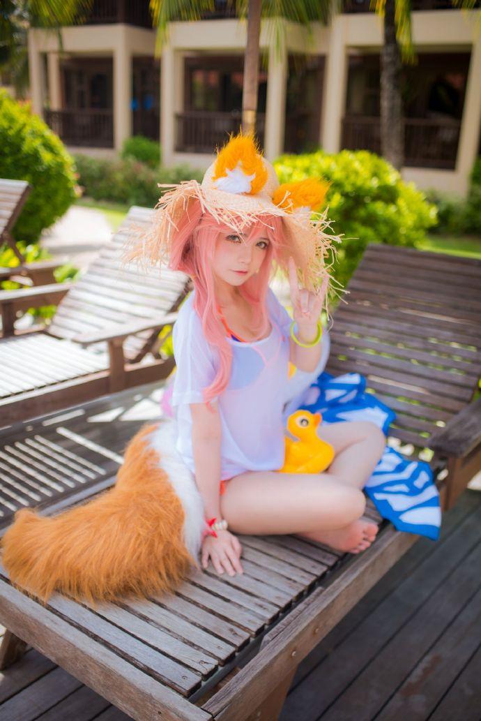 夏日玉藻前cosplay,Miu的阳光草帽与狐狸尾巴插图