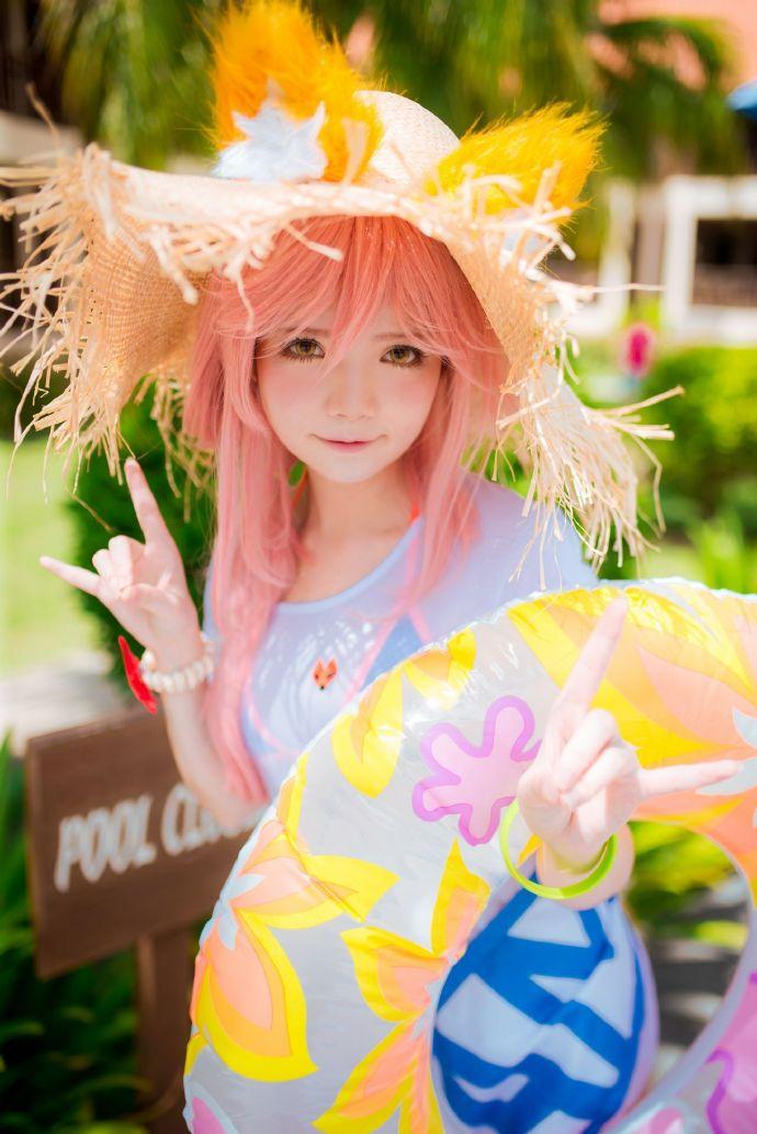 夏日玉藻前cosplay,Miu的阳光草帽与狐狸尾巴插图7