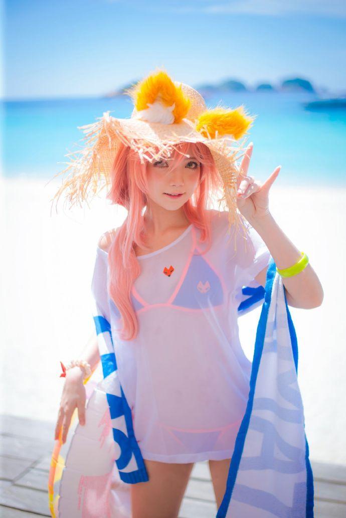 夏日玉藻前cosplay,Miu的阳光草帽与狐狸尾巴插图10