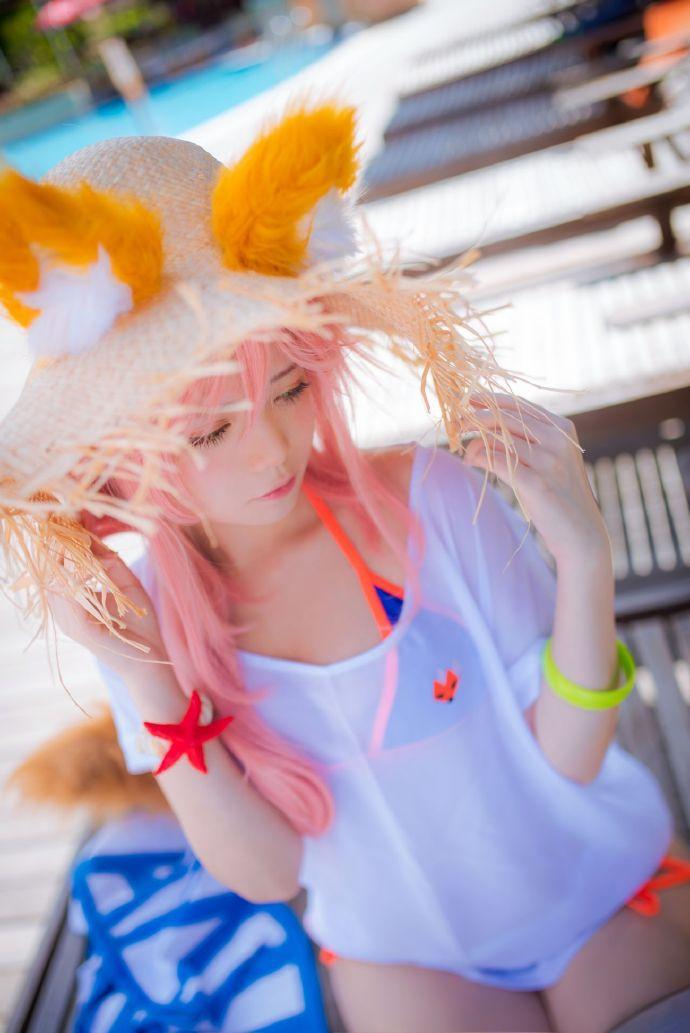 夏日玉藻前cosplay,Miu的阳光草帽与狐狸尾巴插图14