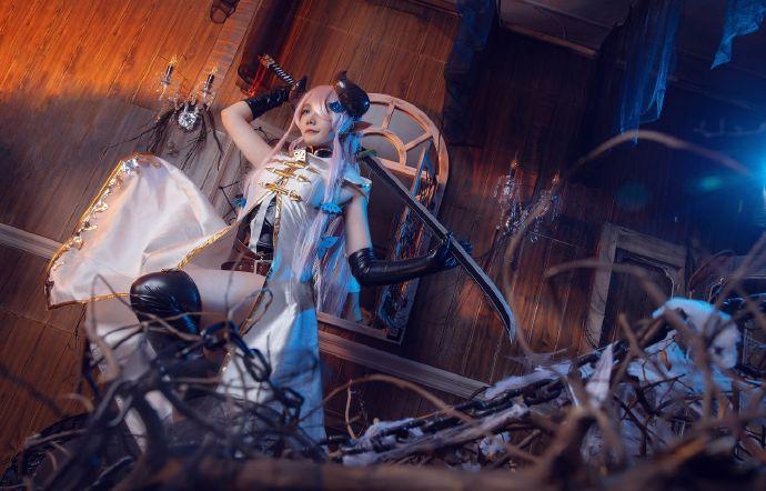 碧蓝幻想娜梅露亚cosplay,麻花麻花酱的牛角与皮靴插图