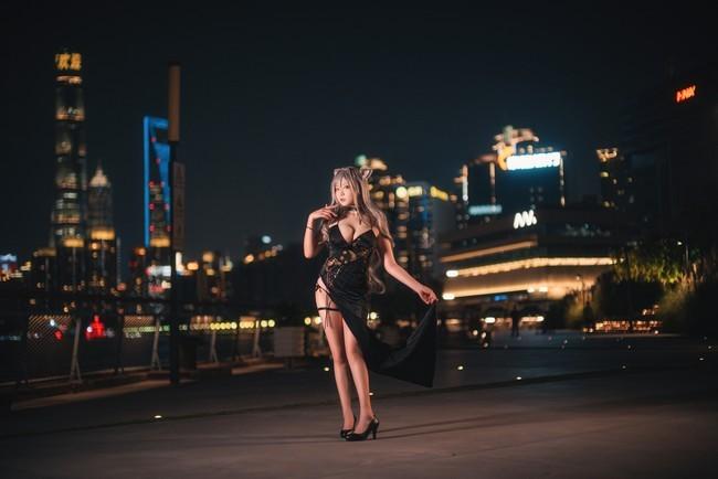 【cosplay】明日方舟黑cos黑色礼服樱岛嗷一高清图片