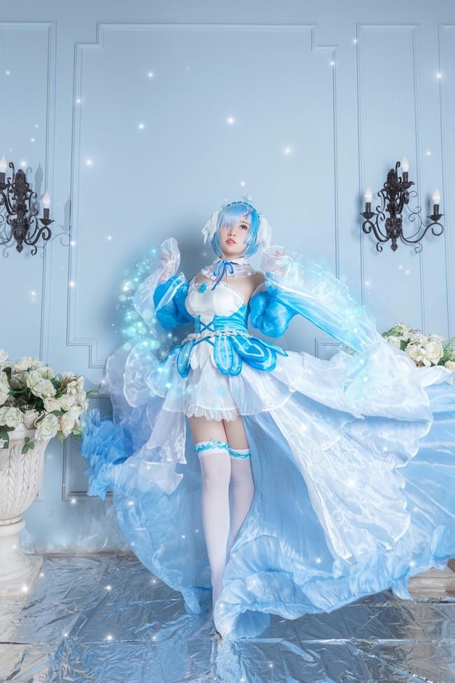 re从零开始的异世界生活:猫田圣奈奈cos写真,爱蜜莉雅蕾姆水晶礼服ver高清图片