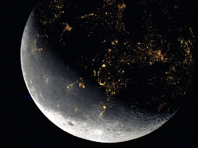 如果人类大规模移居月球,夜空中的月亮看起来可能会变成这个样子