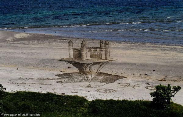 沙滩上的浮空城堡