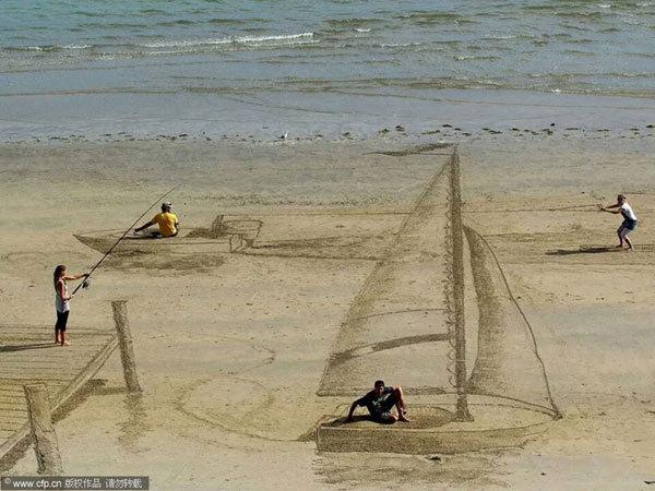 栈桥钓鱼、帆船航行、滑板冲浪