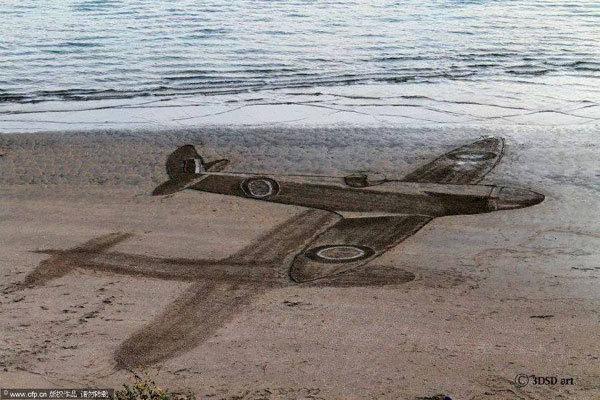 沙滩上低空掠过的飞机