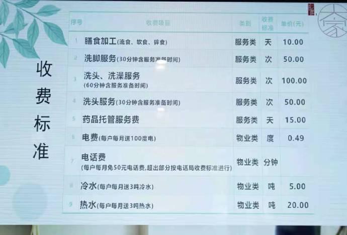 来一起感受下北京某中高端养老院的收费价格