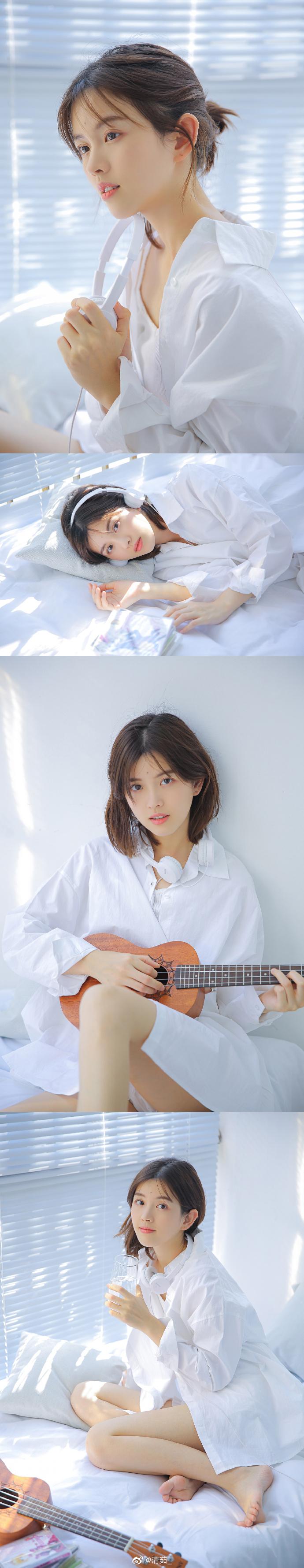【金源平台ins美女】白色衬衣的清澈透明国产美少女