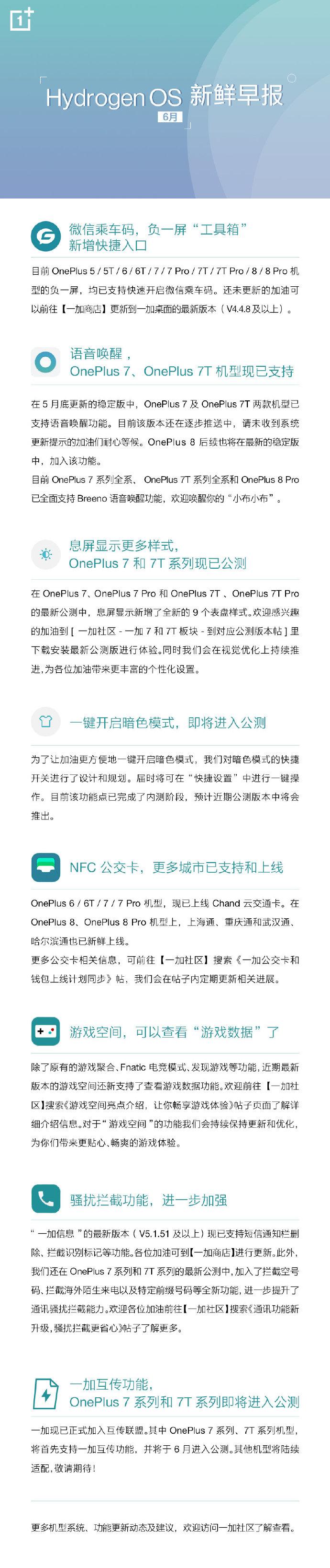 一加手机发布6 月Hydrogen OS(氢OS)新鲜早报-玩懂手机网 - 玩懂手机第一手的手机资讯网(www.wdshouji.com)